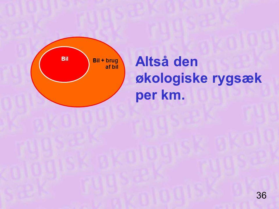 Altså den økologiske rygsæk per km.