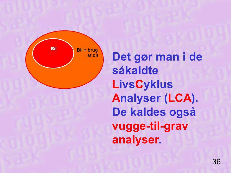 Bil Bil + brug af bil. Det gør man i de såkaldte LivsCyklus Analyser (LCA). De kaldes også vugge-til-grav analyser.