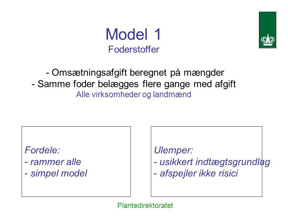 Model 1 Foderstoffer - Omsætningsafgift beregnet på mængder