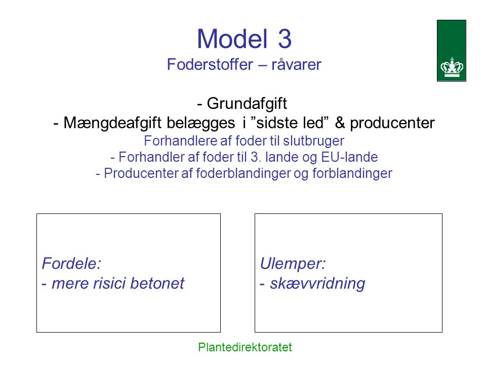 Model 3 Foderstoffer – råvarer - Grundafgift