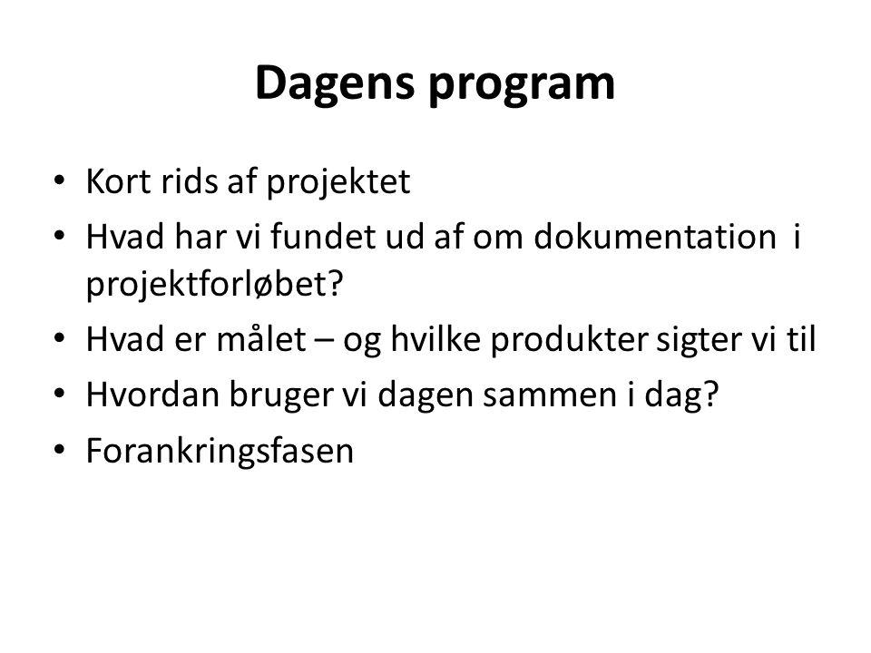 Dagens program Kort rids af projektet