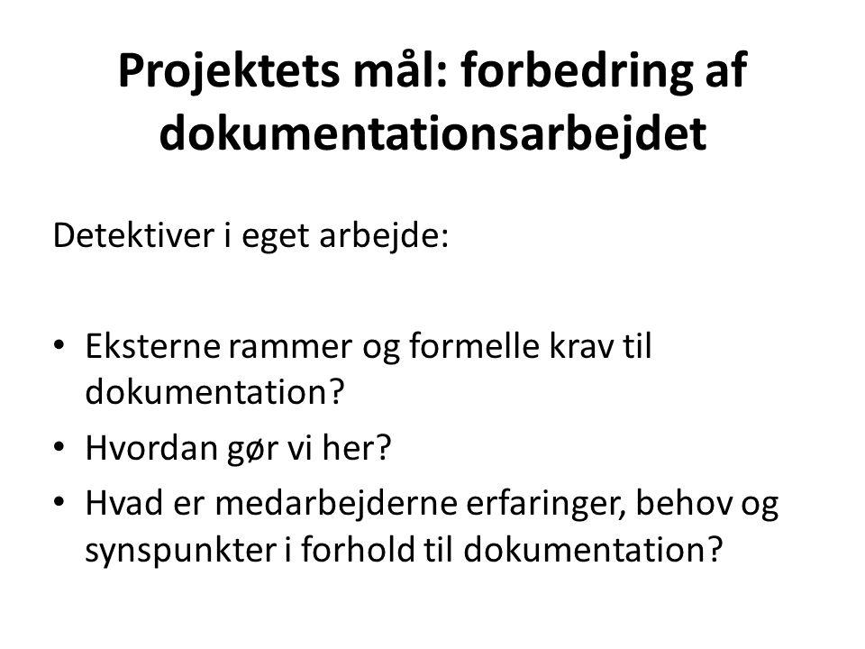 Projektets mål: forbedring af dokumentationsarbejdet