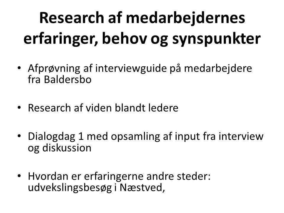Research af medarbejdernes erfaringer, behov og synspunkter