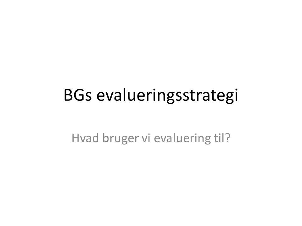 BGs evalueringsstrategi