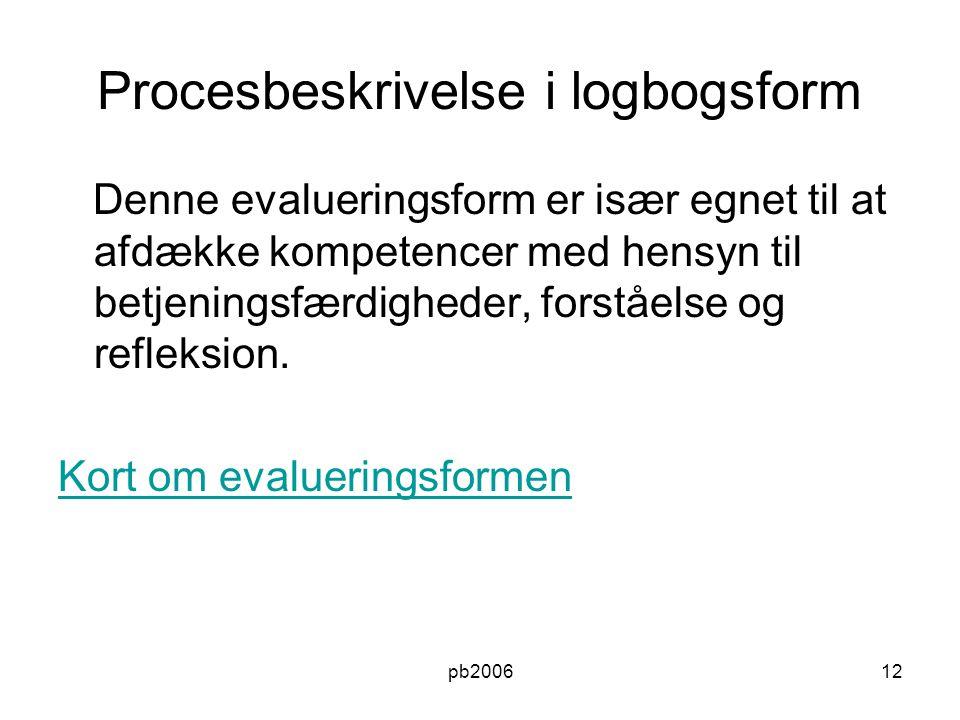 Procesbeskrivelse i logbogsform
