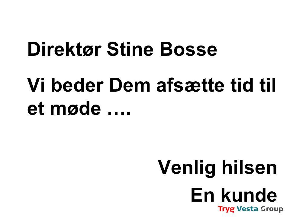 Direktør Stine Bosse Vi beder Dem afsætte tid til et møde …. Venlig hilsen En kunde