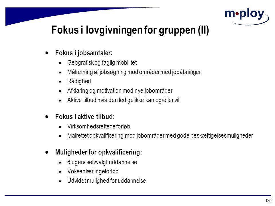 Fokus i lovgivningen for gruppen (II)