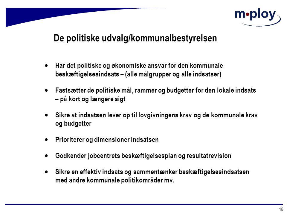 De politiske udvalg/kommunalbestyrelsen