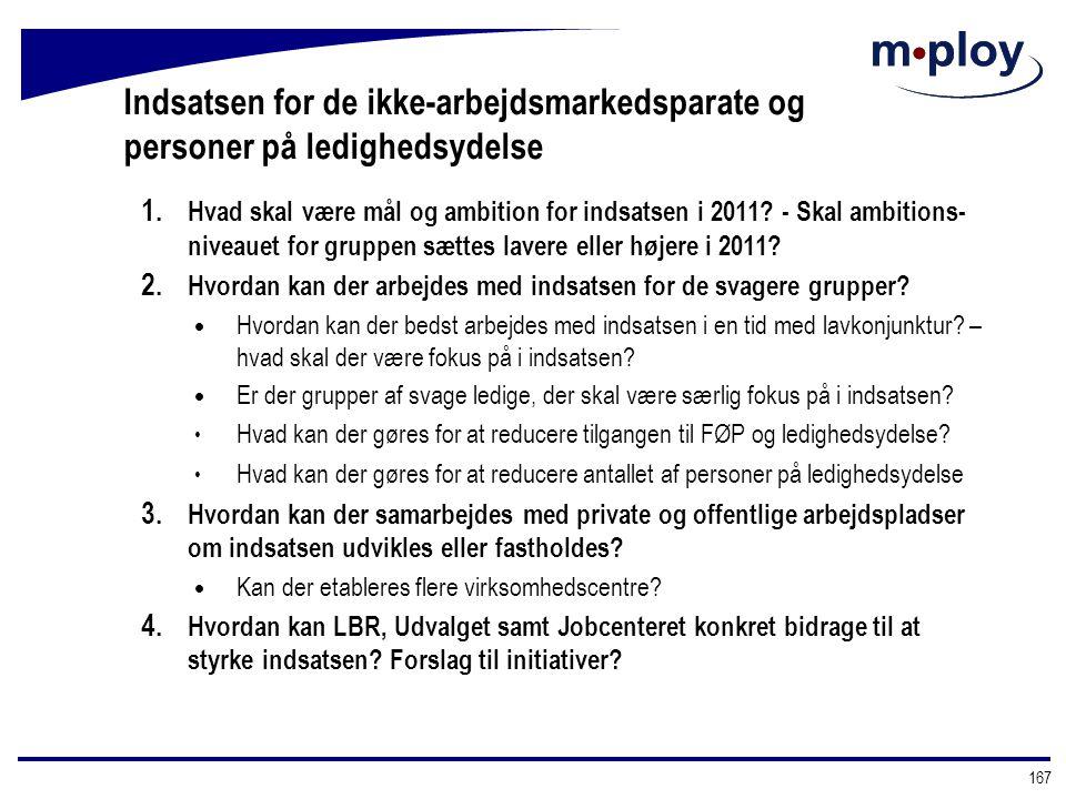 Indsatsen for de ikke-arbejdsmarkedsparate og personer på ledighedsydelse
