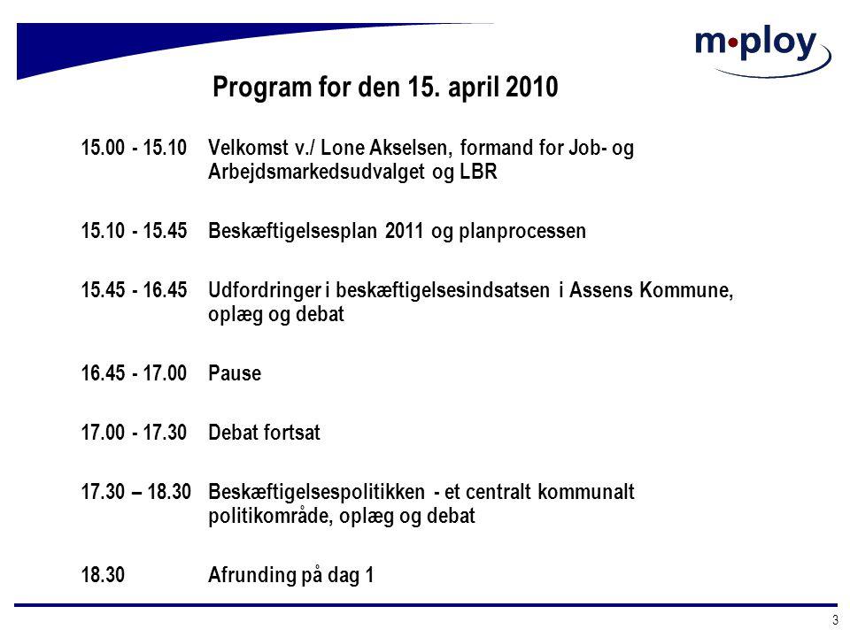 Program for den 15. april 2010 15.00 - 15.10 Velkomst v./ Lone Akselsen, formand for Job- og Arbejdsmarkedsudvalget og LBR.