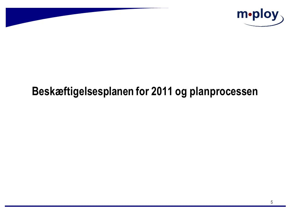 Beskæftigelsesplanen for 2011 og planprocessen
