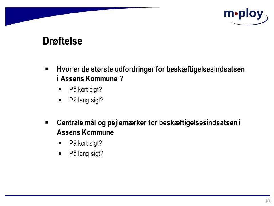 Drøftelse Hvor er de største udfordringer for beskæftigelsesindsatsen i Assens Kommune På kort sigt