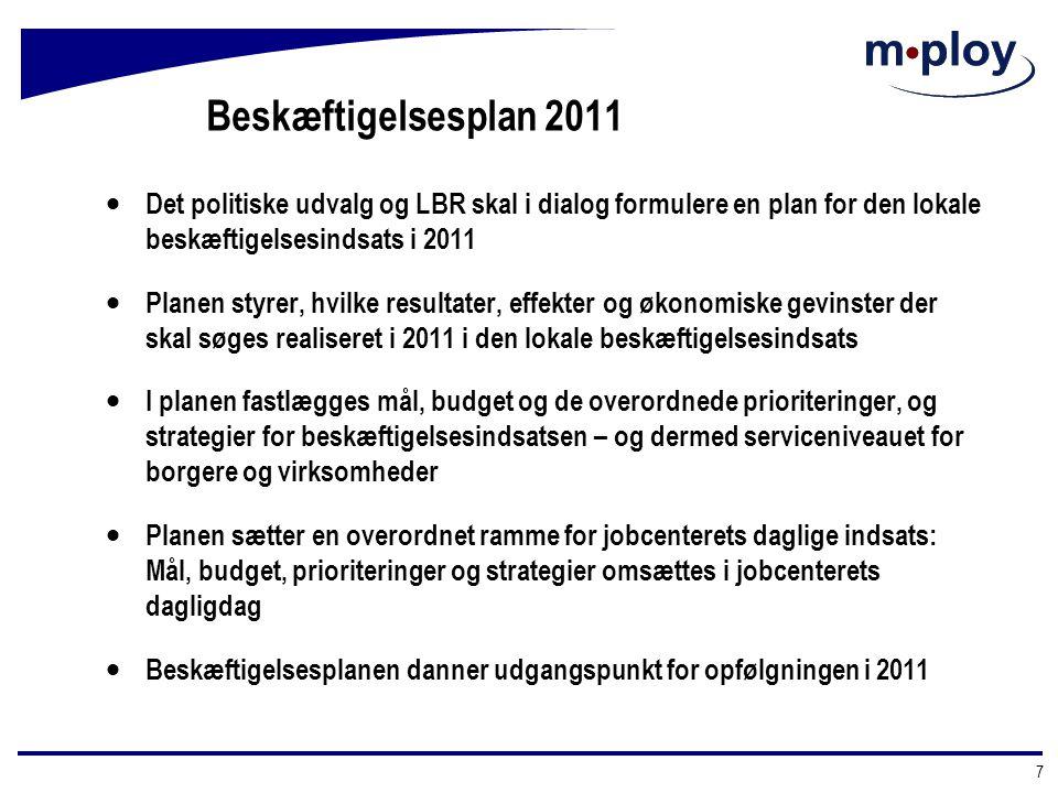 Beskæftigelsesplan 2011 Det politiske udvalg og LBR skal i dialog formulere en plan for den lokale beskæftigelsesindsats i 2011.