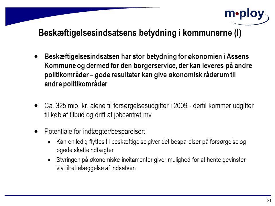 Beskæftigelsesindsatsens betydning i kommunerne (I)