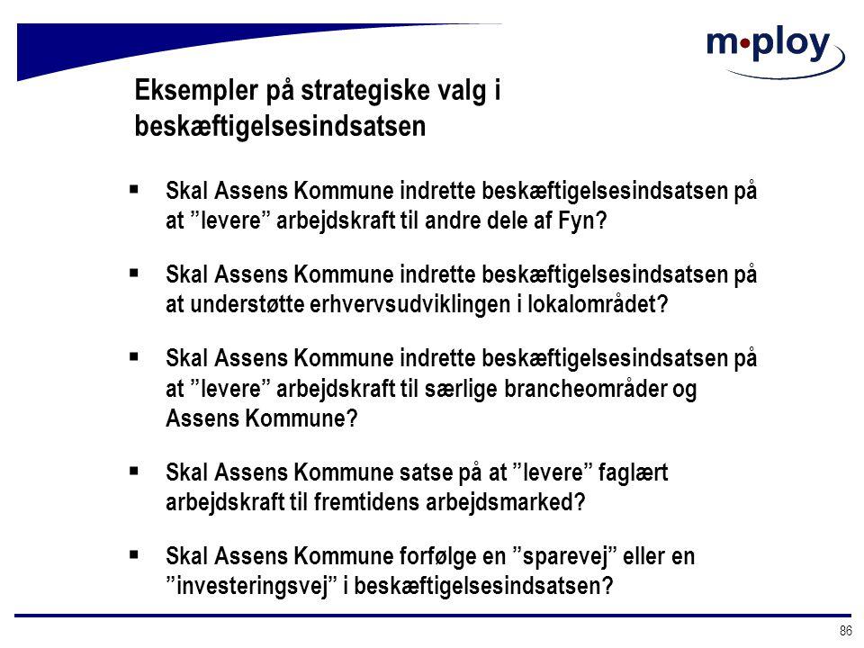 Eksempler på strategiske valg i beskæftigelsesindsatsen