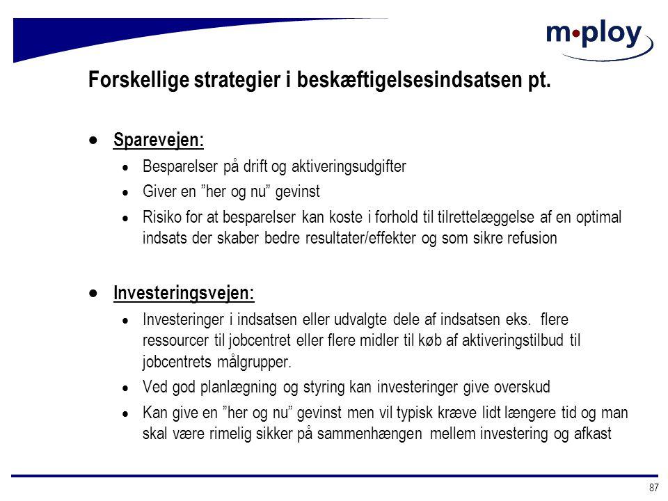 Forskellige strategier i beskæftigelsesindsatsen pt.