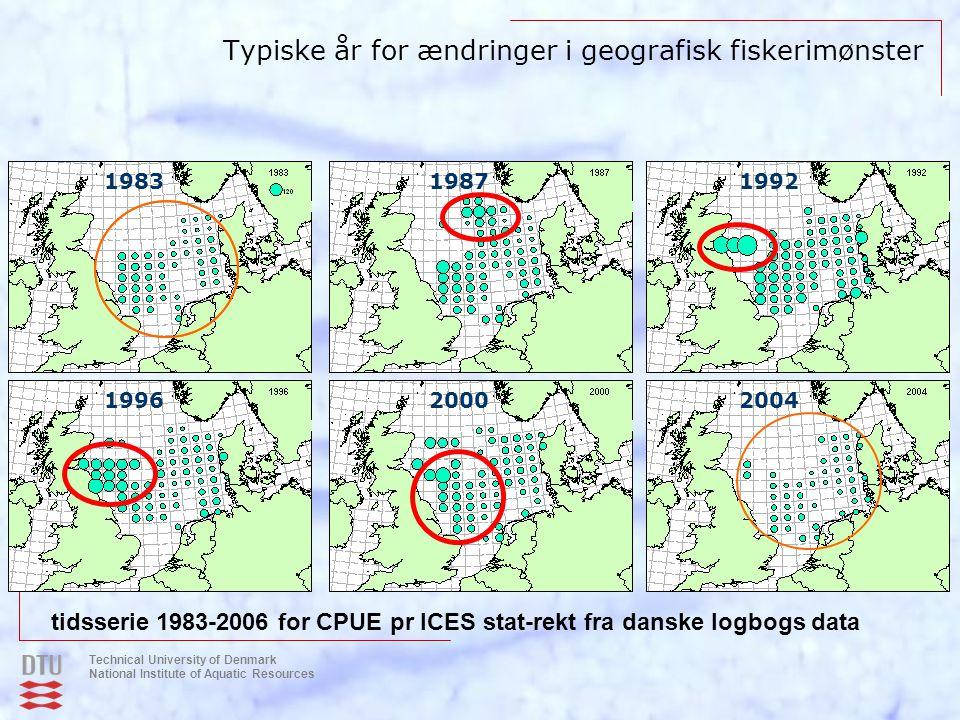Typiske år for ændringer i geografisk fiskerimønster