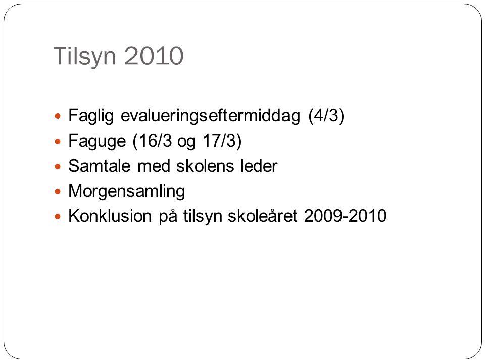 Tilsyn 2010 Faglig evalueringseftermiddag (4/3) Faguge (16/3 og 17/3)