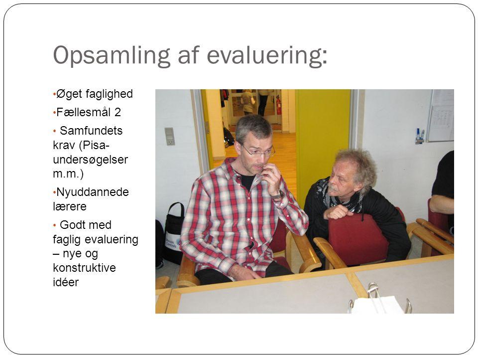 Opsamling af evaluering: