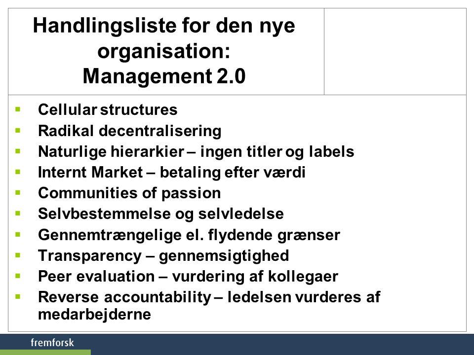 Handlingsliste for den nye organisation: Management 2.0