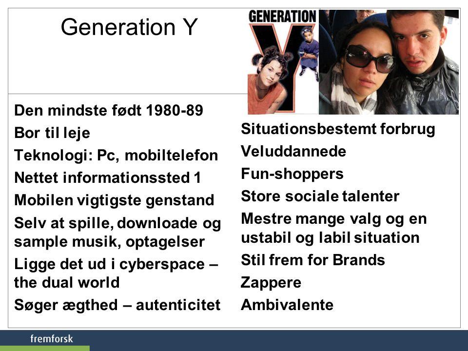 Generation Y Den mindste født 1980-89 Bor til leje