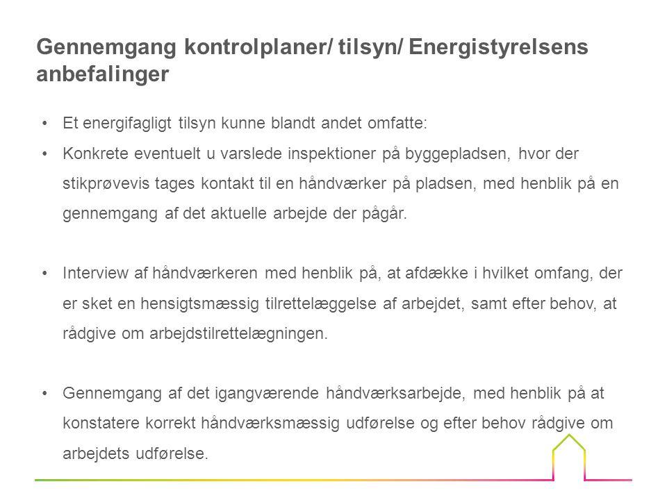 Gennemgang kontrolplaner/ tilsyn/ Energistyrelsens anbefalinger