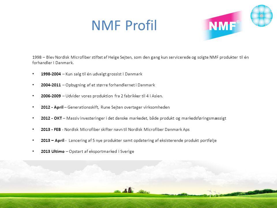 NMF Profil 1998 – Blev Nordisk Microfiber stiftet af Helge Sejten, som den gang kun servicerede og solgte NMF produkter til én forhandler I Danmark.
