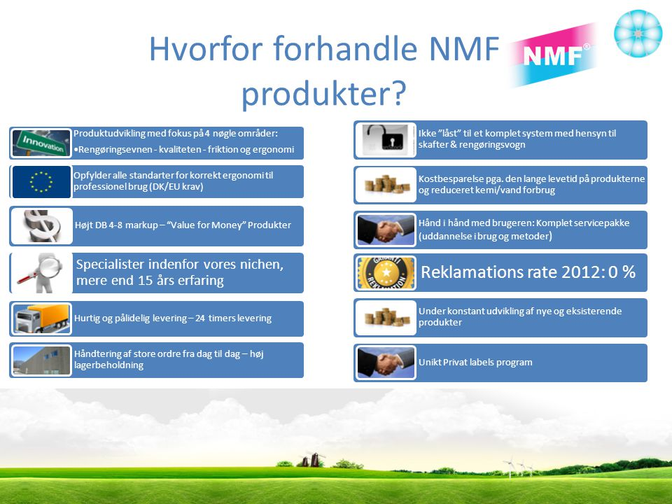 Hvorfor forhandle NMF produkter