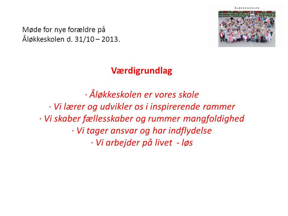 Møde for nye forældre på Åløkkeskolen d. 31/10 – 2013.