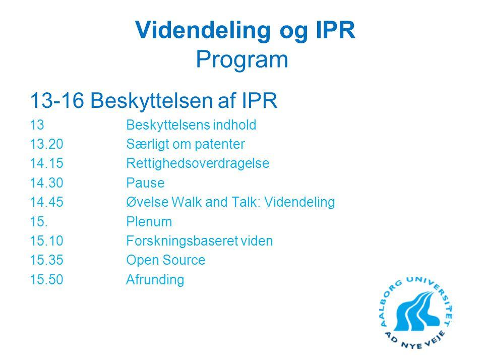 Videndeling og IPR Program