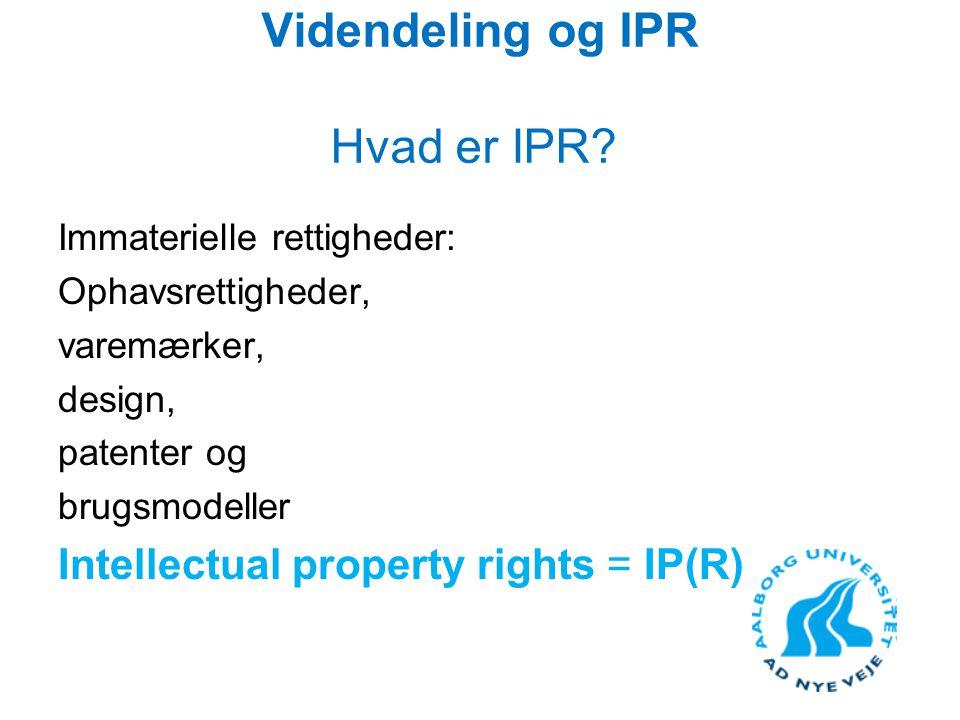 Videndeling og IPR Hvad er IPR