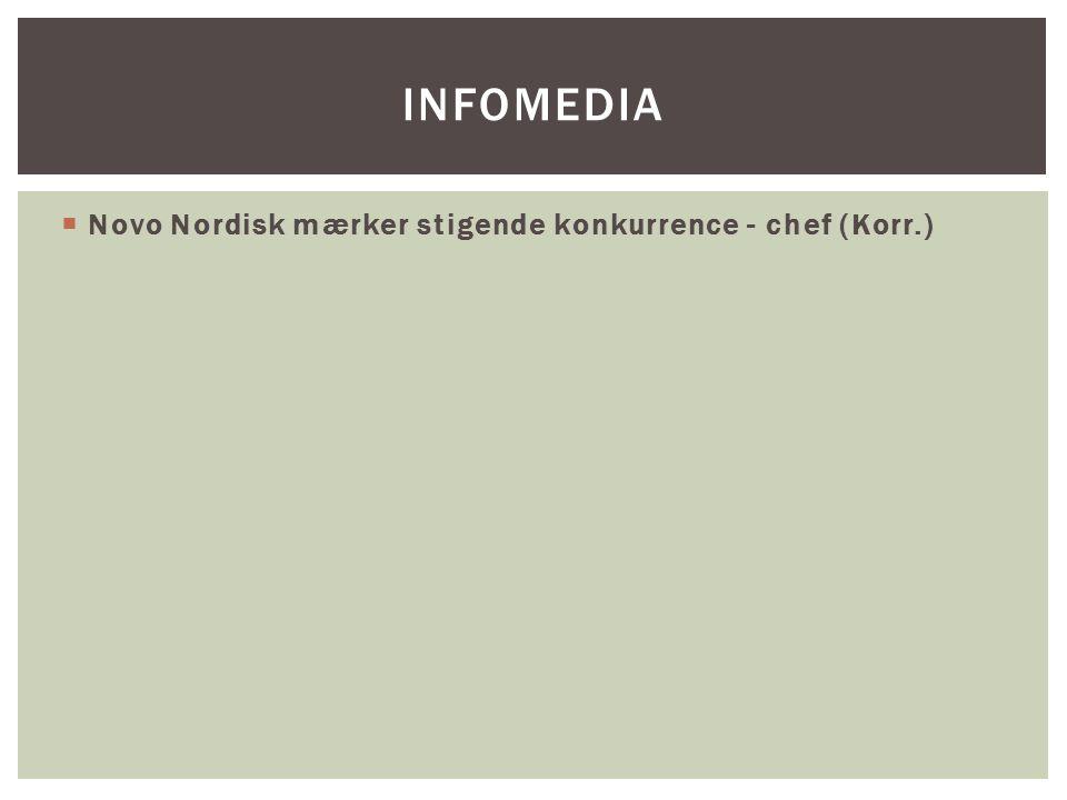 Infomedia Novo Nordisk mærker stigende konkurrence - chef (Korr.)