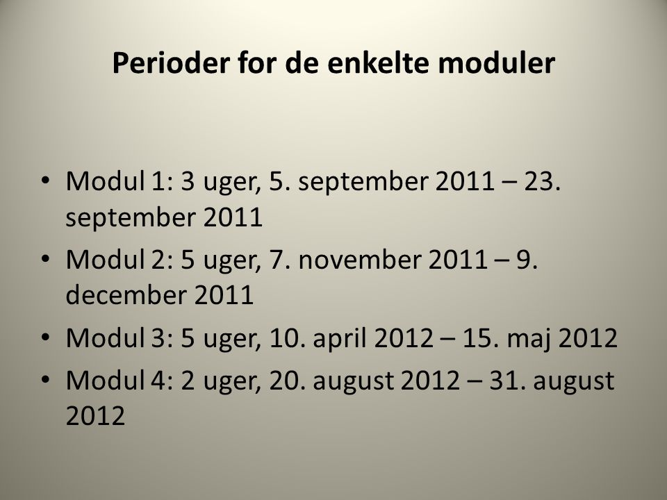 Perioder for de enkelte moduler