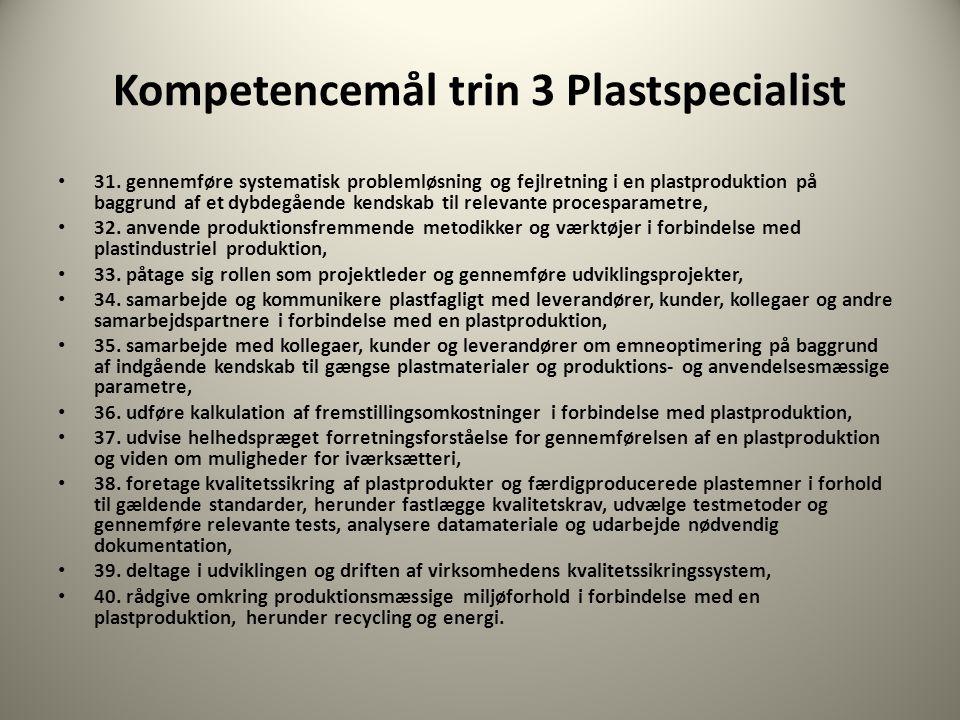 Kompetencemål trin 3 Plastspecialist