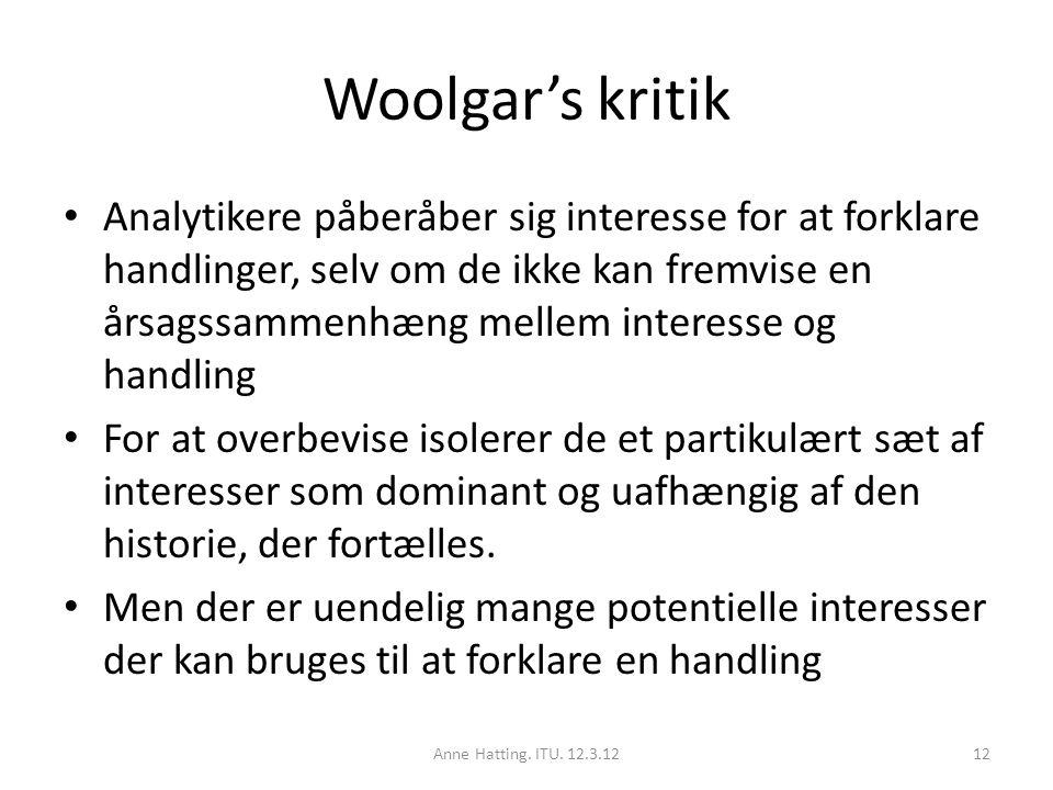 Woolgar's kritik