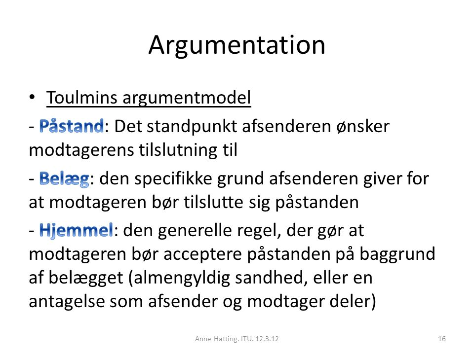 Argumentation Toulmins argumentmodel