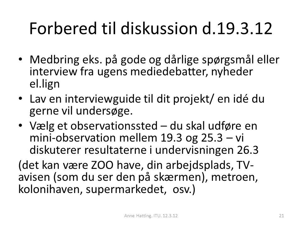 Forbered til diskussion d.19.3.12