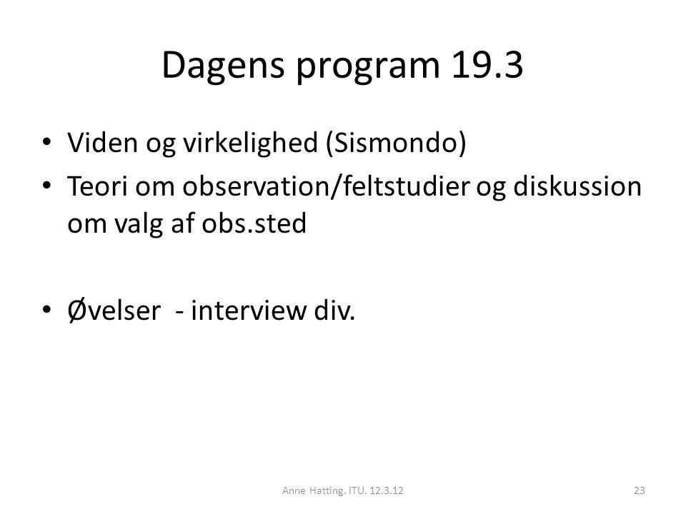 Dagens program 19.3 Viden og virkelighed (Sismondo)