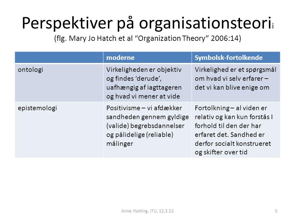 Perspektiver på organisationsteorii (flg