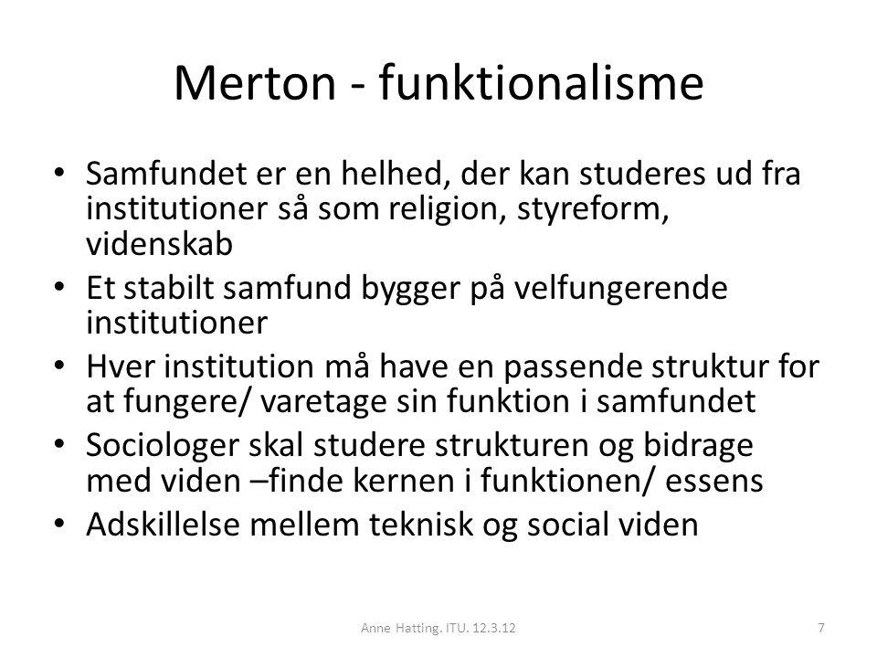 Merton - funktionalisme