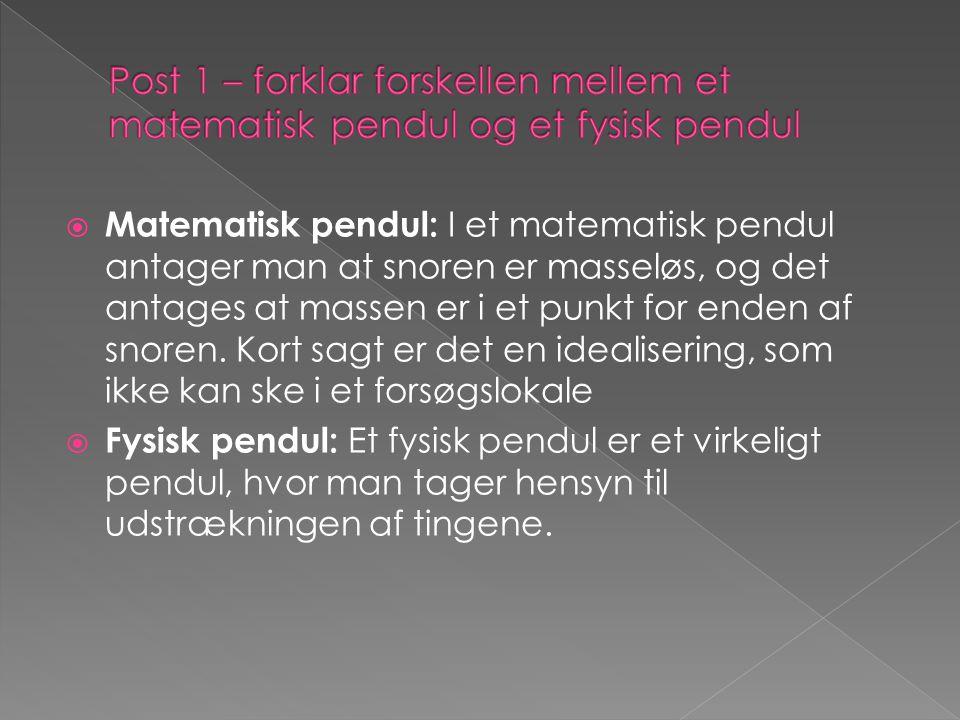 Post 1 – forklar forskellen mellem et matematisk pendul og et fysisk pendul