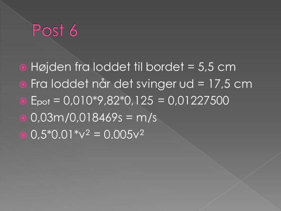 Post 6 Højden fra loddet til bordet = 5,5 cm