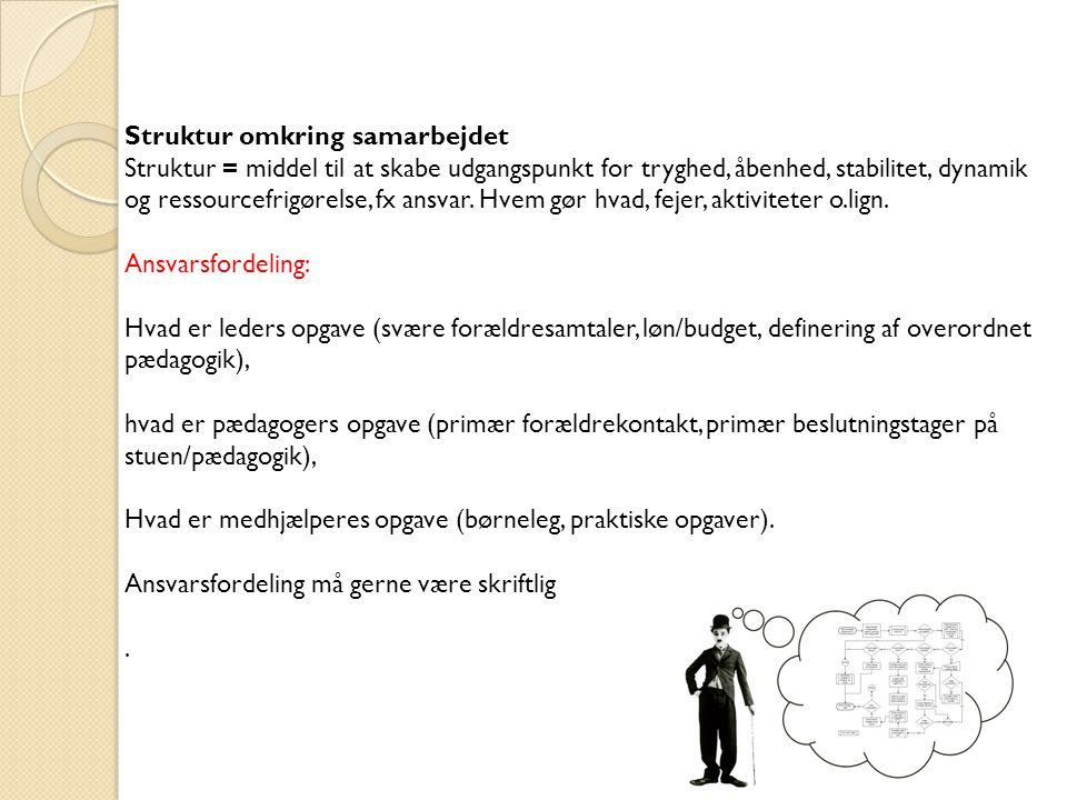 Struktur omkring samarbejdet.