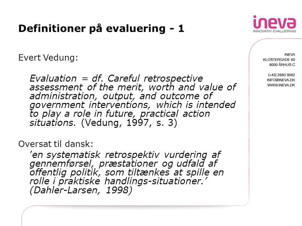 Definitioner på evaluering - 1