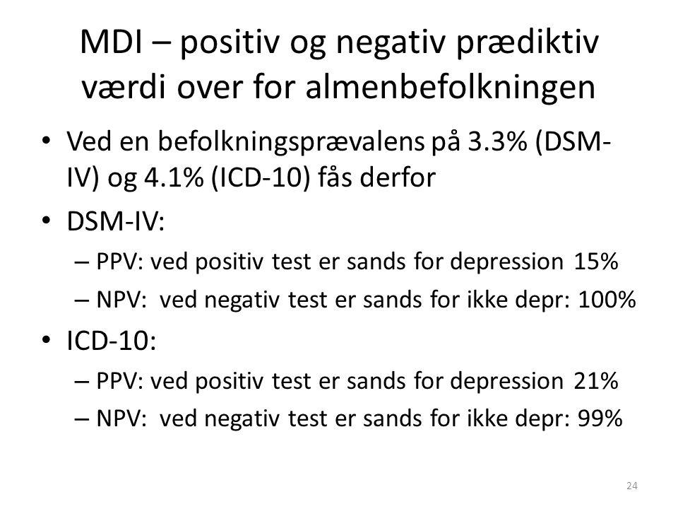 MDI – positiv og negativ prædiktiv værdi over for almenbefolkningen
