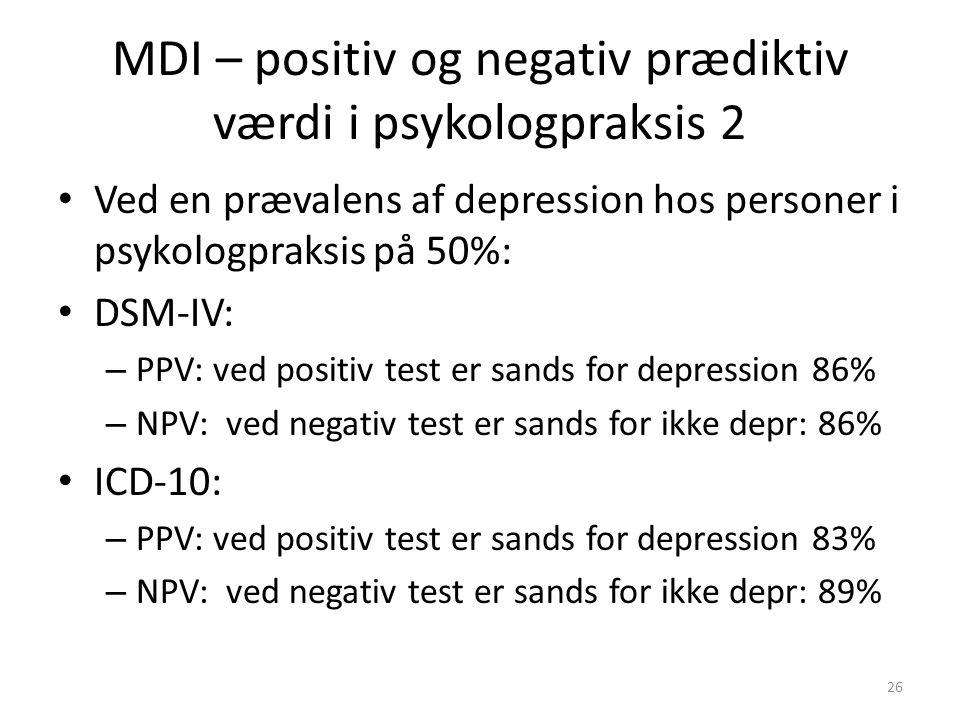MDI – positiv og negativ prædiktiv værdi i psykologpraksis 2