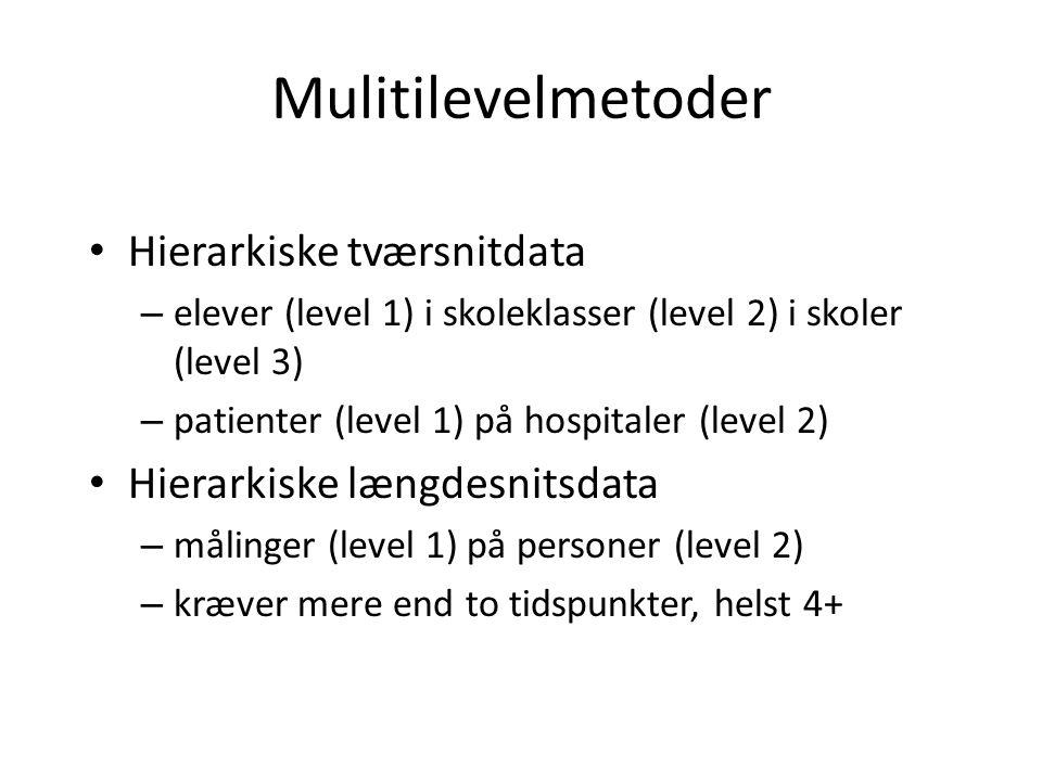 Mulitilevelmetoder Hierarkiske tværsnitdata