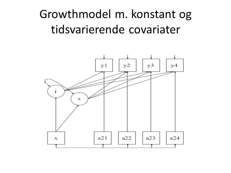Growthmodel m. konstant og tidsvarierende covariater