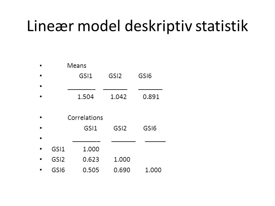 Lineær model deskriptiv statistik