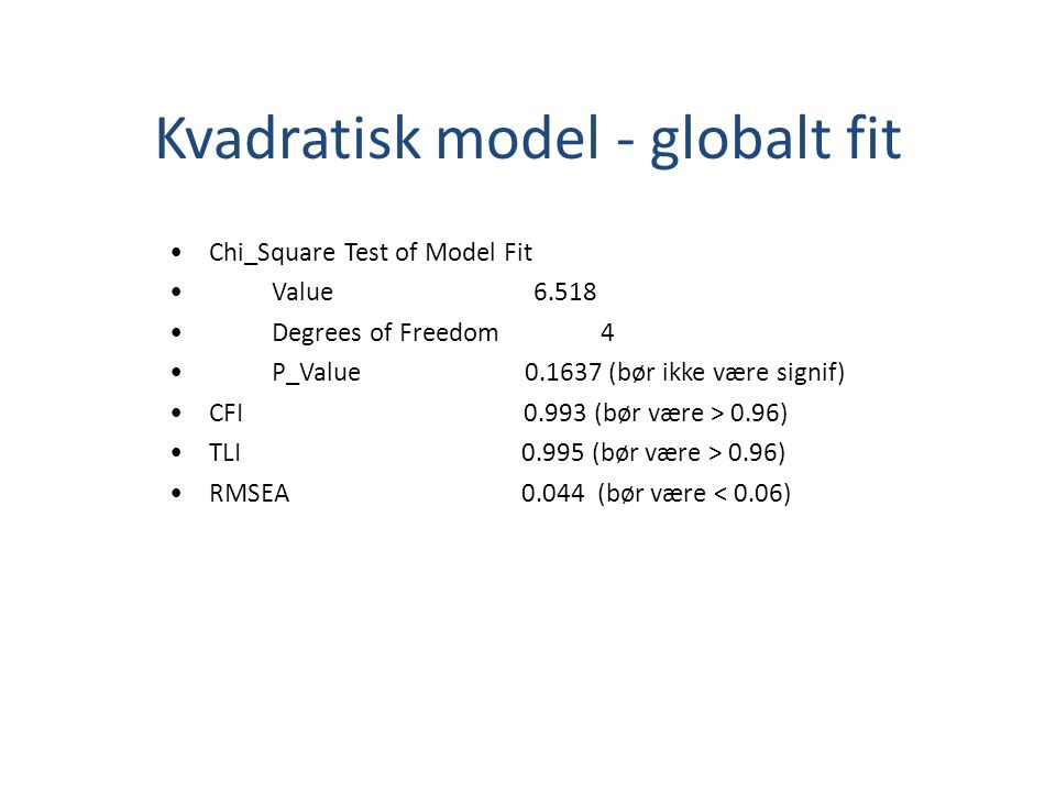Kvadratisk model - globalt fit